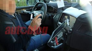 Audi Q4 E-Tron interior partially shown in spy photos