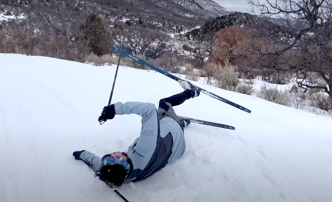 Please Enjoy This Very Good Downhill Skier Learning to Nordic Ski