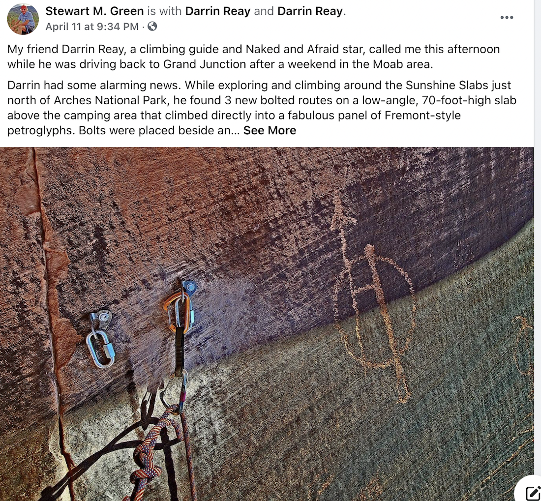Climbers Placed Bolts in Ancient Petroglyphs Near Moab